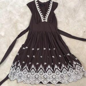 Brown linen sun dress